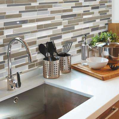 Milano Argento Approximately 3 in. W x 3 in. H Brown, Gray and Silver Decorative Mosaic Wall Tile Backsplash Sample