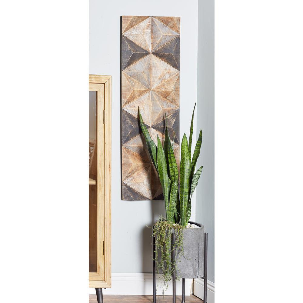 42 in. x 15 in. Hexagons and Triangles Wooden Wall Art