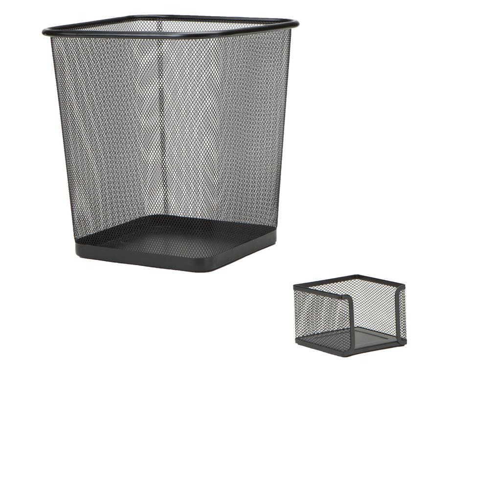 Mind Reader Metal Mesh Desk Organizer Set With Trash Can In Black 6 Pieces