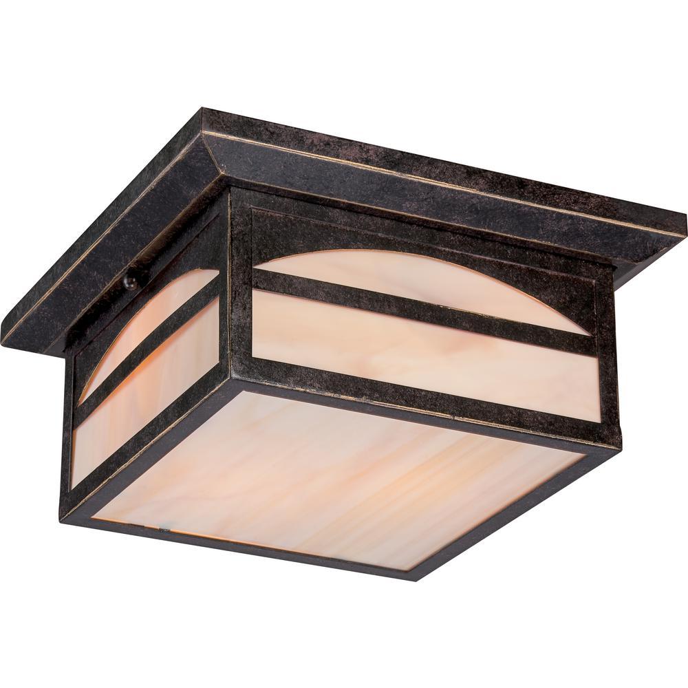 William Umber Bronze 2-Light Outdoor Flush Mount