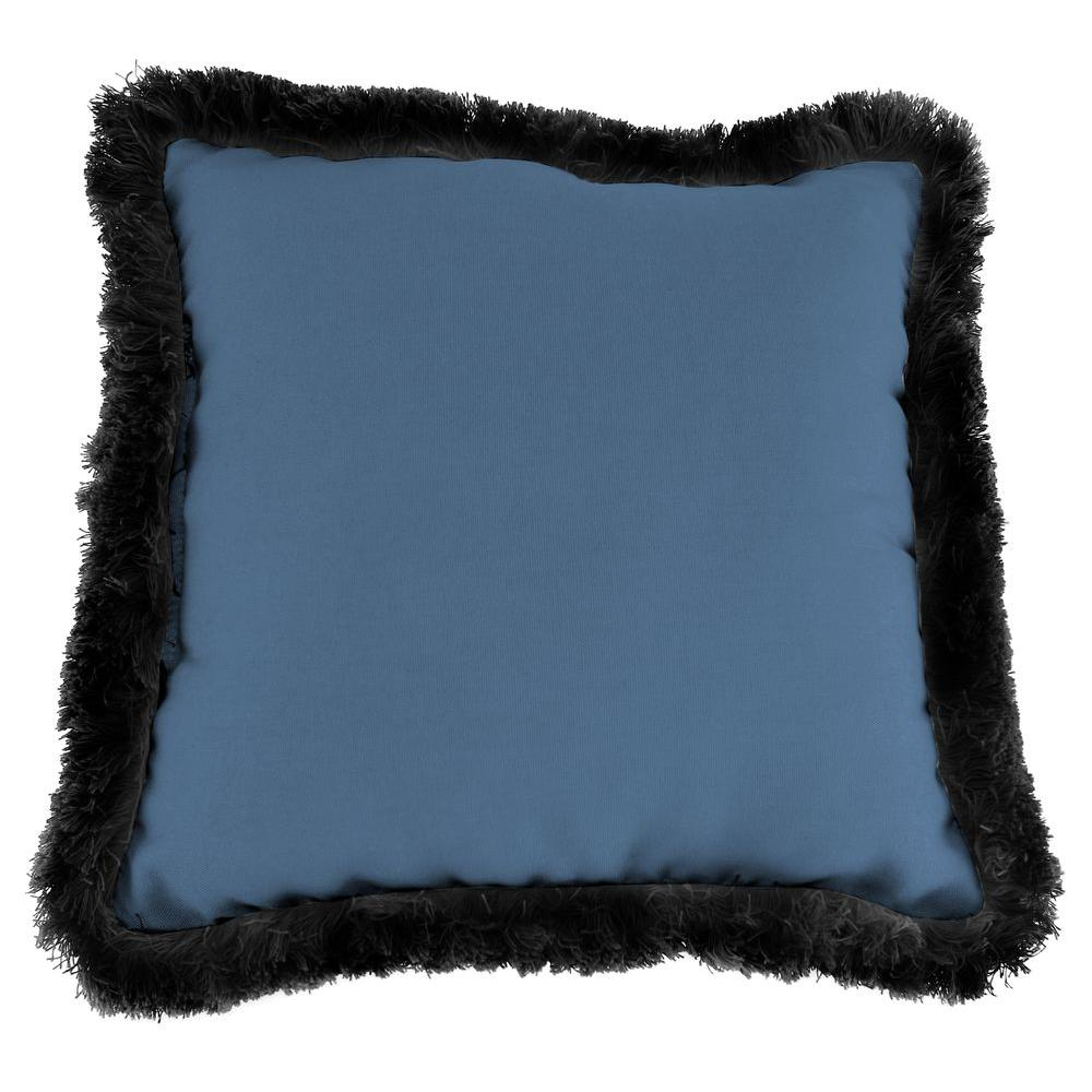 Jordan Manufacturing Sunbrella Canvas Sapphire Blue Square Outdoor Throw Pillow with Black Fringe