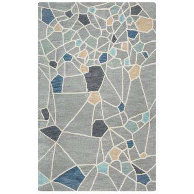 Marianna Fields Gray Abstract Hand Tufted Wool 5 ft. x 8 ft. Area Rug