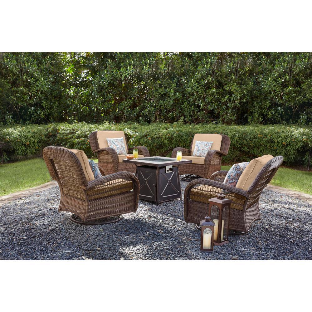 Beacon Park Brown Wicker Outdoor Patio Swivel Lounge Chair with Sunbrella Beige Tan Cushions