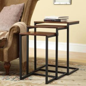 Carolina Cottage Addison Chestnut 3 Piece Nesting End Table WSS 2016   The  Home Depot