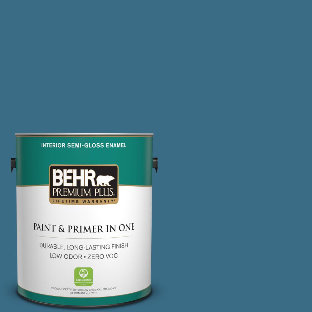1-gal. #S490-6 Bering Wave Semi-Gloss Enamel Interior Paint