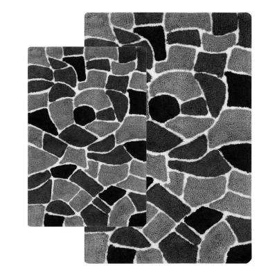 Boulder 21 in. x 34 in. and 24 in. x 40 in. 2-Piece Bath Rug Set in Grey