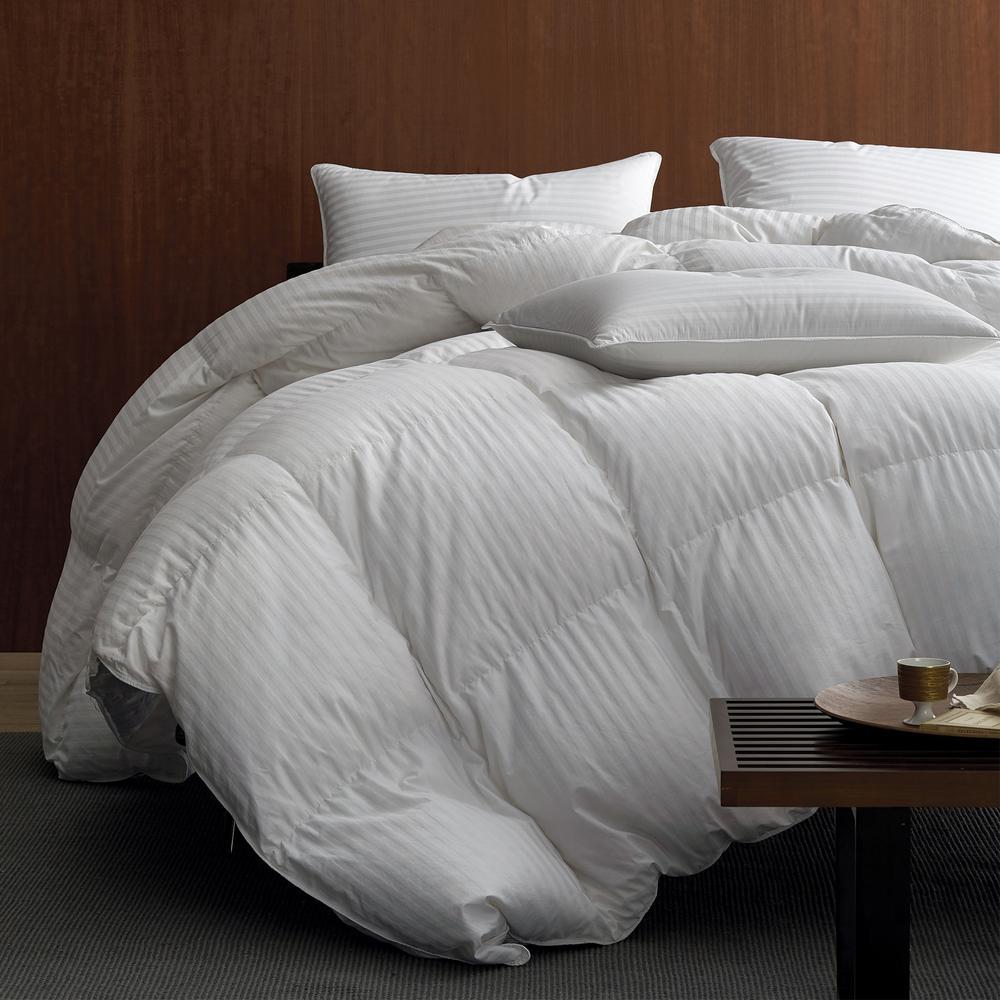 Legends Luxury Baffled Damask Super Light Warmth Ivory King Down Comforter