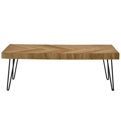 Glossy Finished Oak Nature Rustic Rectangular Coffee Table