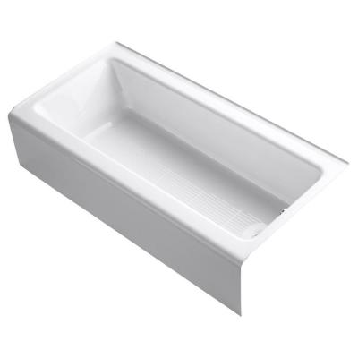 Bellwether 60 in. x 30 in. ADA Cast Iron Alcove Bathtub with Integral Farmhouse Apron and Right-Hand Drain in White