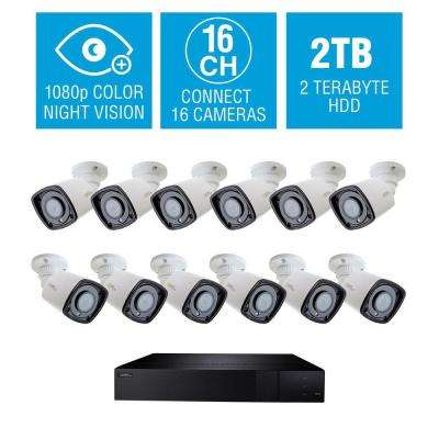 16-Channel 1080p 2TB HD H.265 NVR Video Surveillance System with 12 Bullet Cameras and 65 ft. Color Night Vision