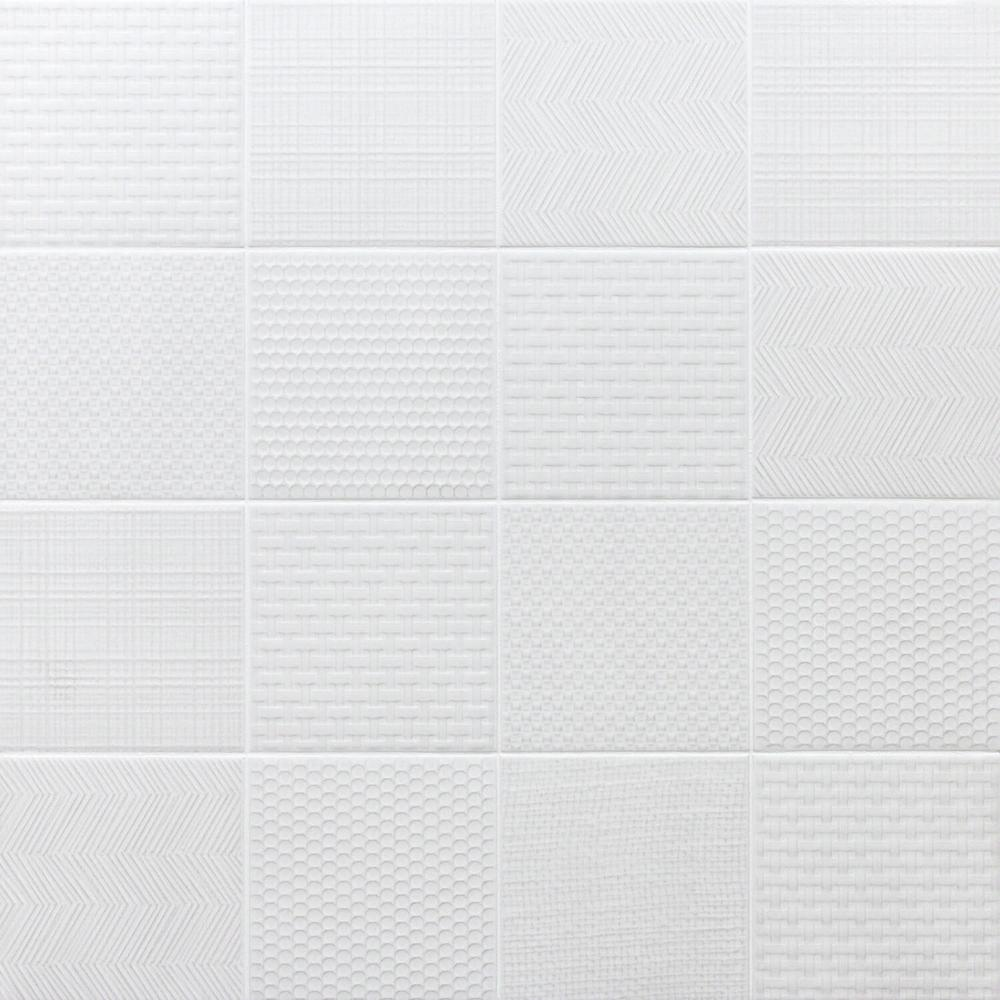Ivy Hill Tile Oakland Decor White 6 in. x 6 in. 7mm Matte Porcelain Floor and Wall Tile (44 pieces 10.76 sq. ft. / box)