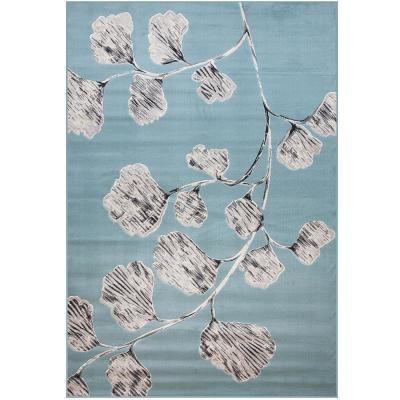 SAMS GOLD IMPORTS Broadway Aster Teal/Grey/Charcoal 5 ft. x 8 ft. Area Rug