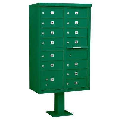 Green USPS Access Cluster Box Unit with 13 B Size Doors and Pedestal