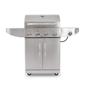 Click here to buy Pit Boss 4-Burner LP Gas Grill Stainless in Steel with Side Burner by Pit Boss.