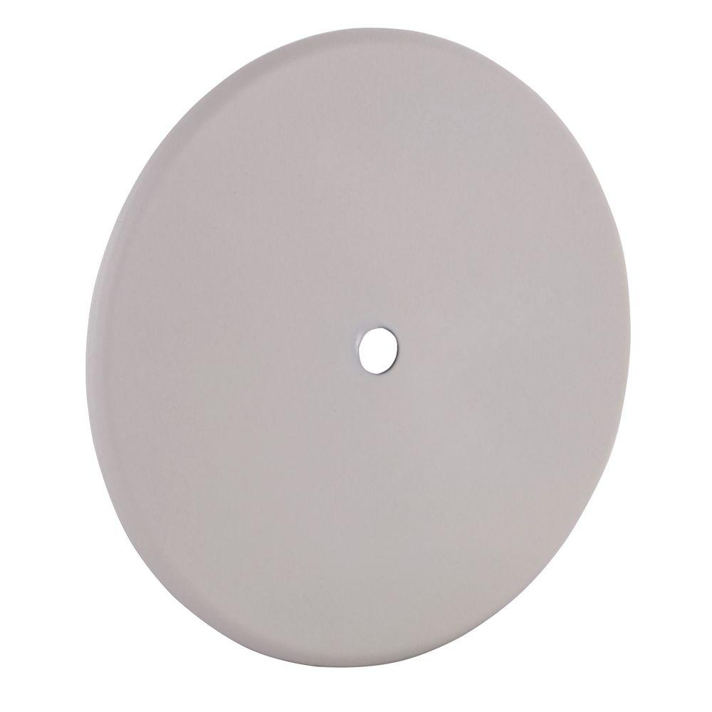 5 in. Round Blank Metal Flat Cover - White Textured