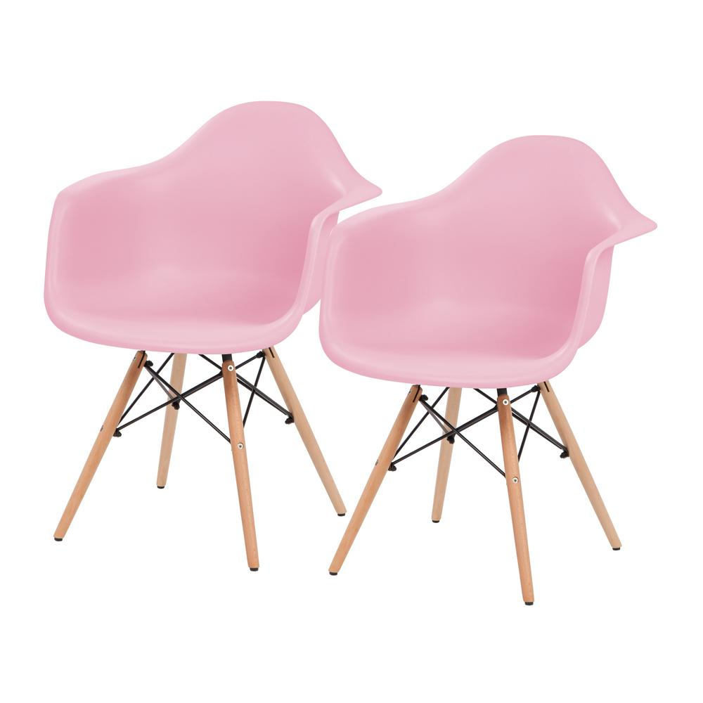 IRIS Pink Plastic Shell Chair with Arm Rest (Set of 2)