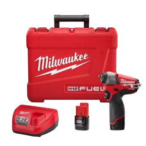 Milwaukee M12 FUEL 12-Volt Lithium-Ion Brushless Cordless 1/4 inch Impact Wrench Kit with (2) 2.0h Batteries, Charger... by Milwaukee
