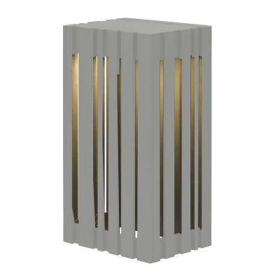 Uptown 1-Light Silver Outdoor 12.8 in. Small LED Wall Light