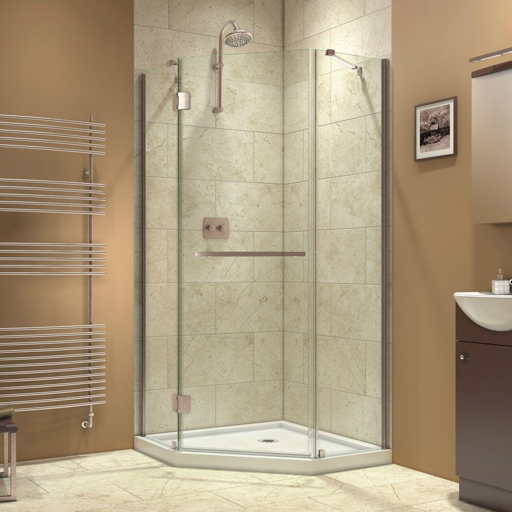 DreamLine Prism-X 34-3/8 in. x 34-3/8 in. x 72 in. Semi-Framed Hinged Shower Enclosure in Brushed Nickel