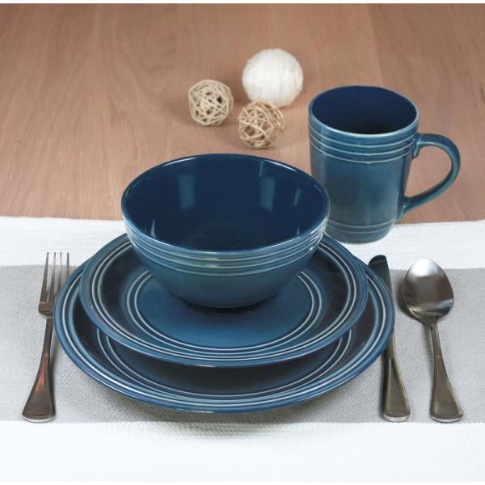 Baum Allure 16 Piece Blue Dinnerware Set Allu16b The Home Depot