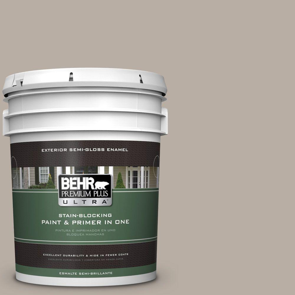 BEHR Premium Plus Ultra 5-gal. #N200-3 Nightingale Gray Semi-Gloss Enamel Exterior Paint
