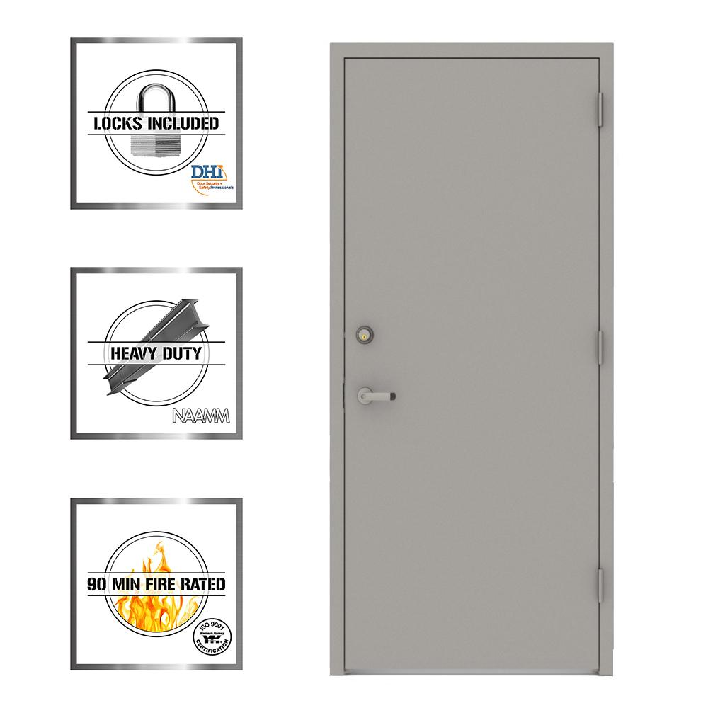L.I.F Industries 36 in. x 80 in. Gray Flush Left-Hand Security Steel Prehung Commercial Door with Welded Frame