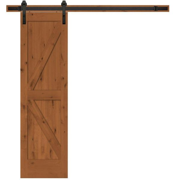 24 in. x 84 in. Rustic 2-Panel Stained Knotty Alder Interior Sliding Barn Door Slab with Hardware