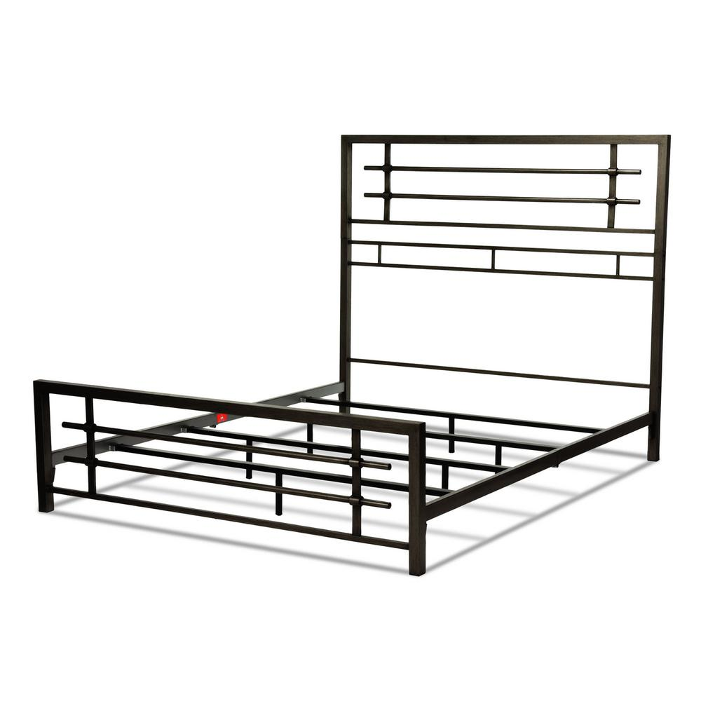 Colton Burnished Black Full Snap Bed with Metal Piping Design and