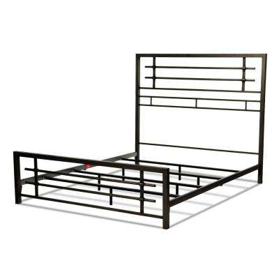 Colton Burnished Black Full Snap Bed with Metal Piping Design and Folding Side Rails