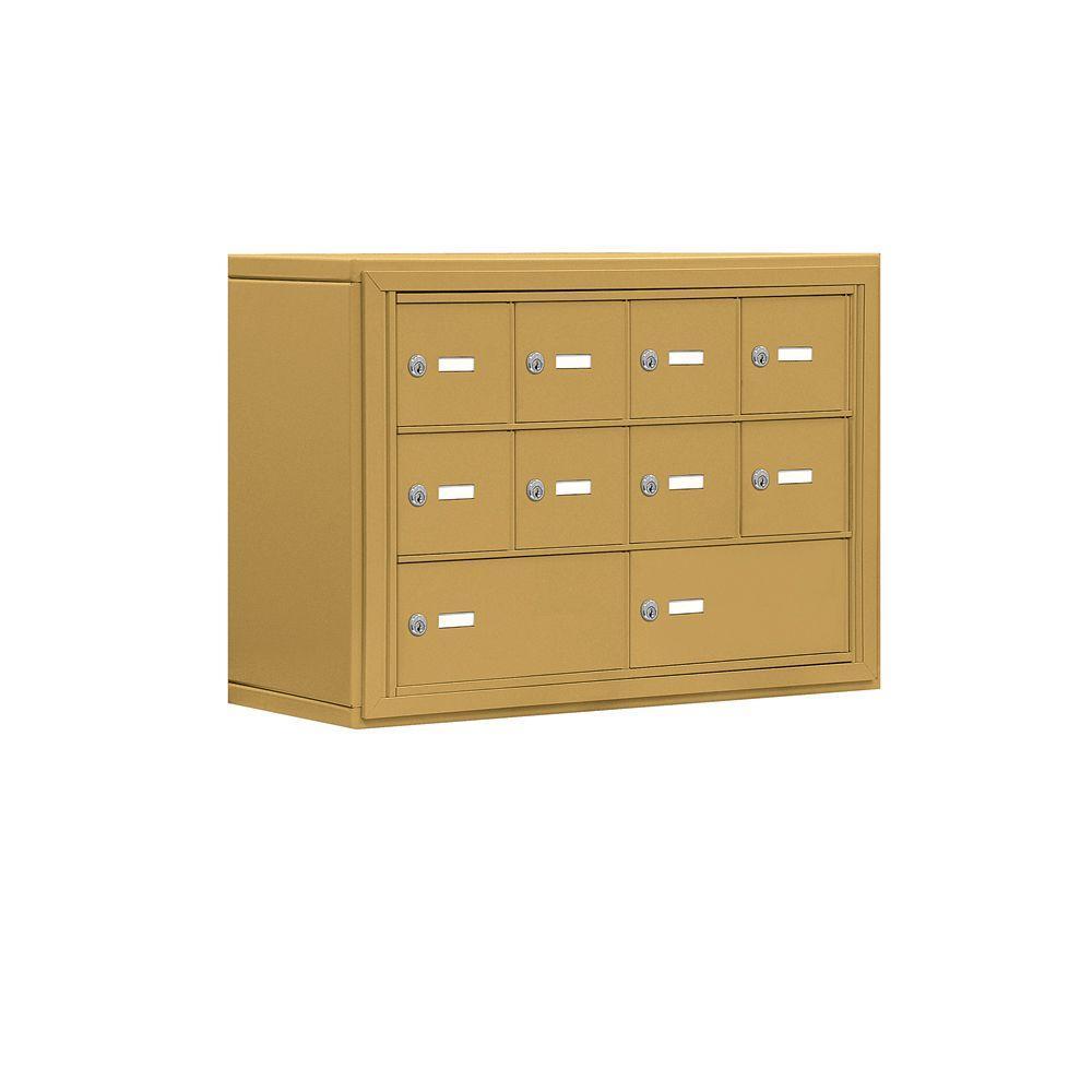 Salsbury Industries 19000 Series 30.5 in. W x 20 in. H x 9.25 in. D 8 A/2 B Doors S-Mount Keyed Locks Cell Phone Locker in Gold