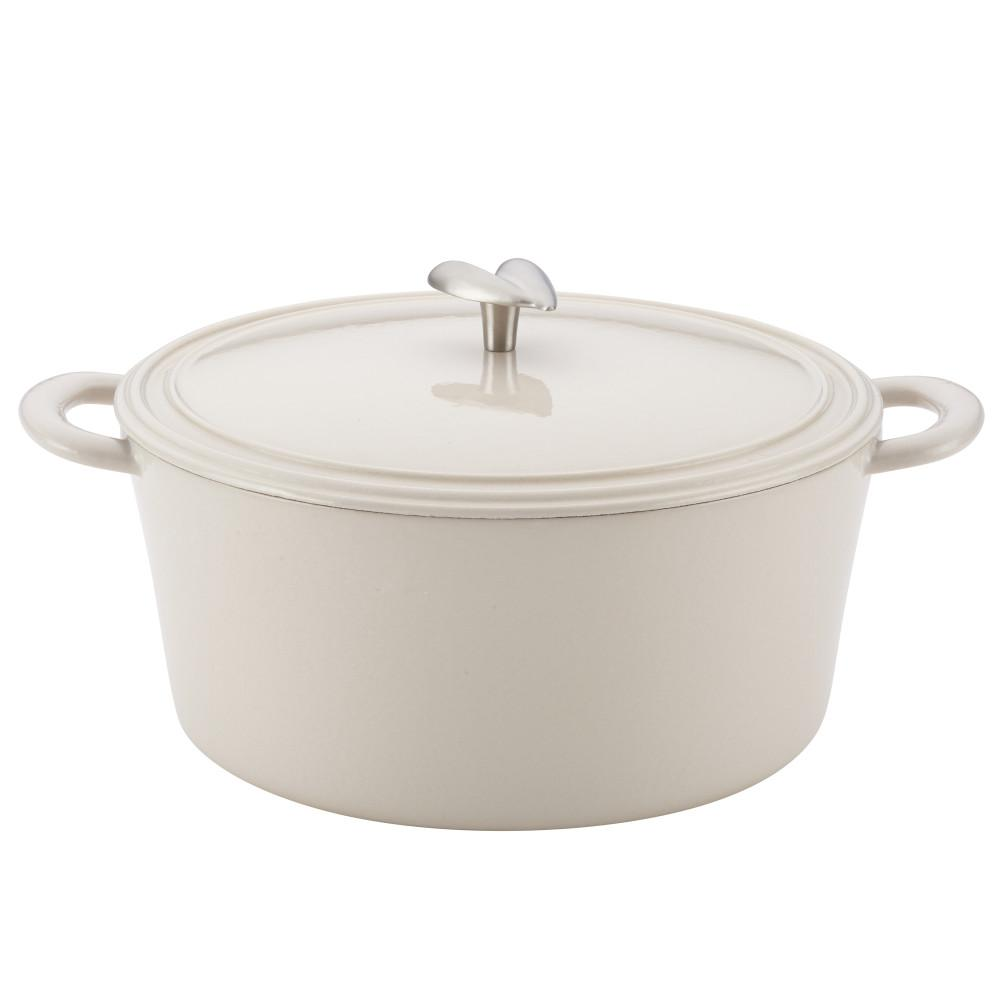 6 Qt. Cast Iron Enamel Covered Dutch Oven in French Vanilla