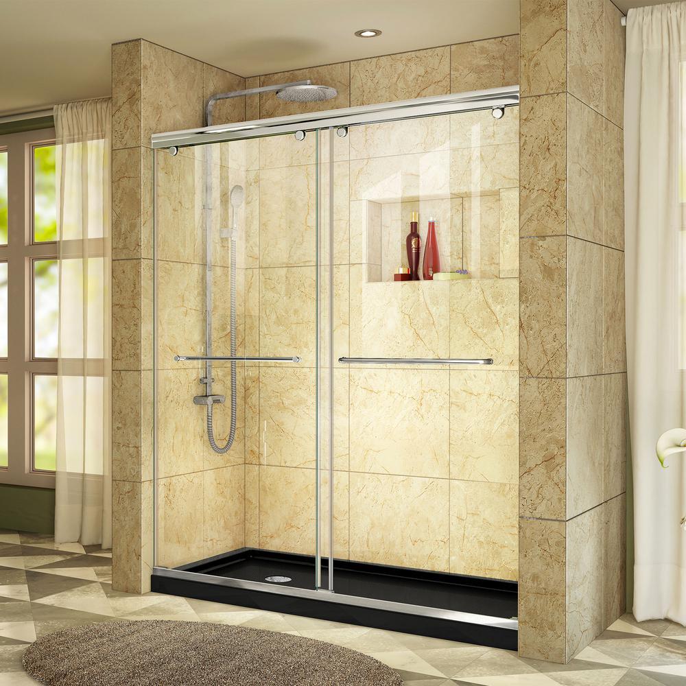 Charisma 34 in. x 60 in. x 78.75 in. Semi-Frameless Sliding Shower Door in Chrome with Shower Base Left Drain