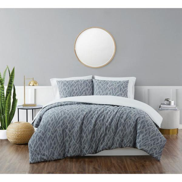 Honey Waffle Blue 3-Piece King Duvet Cover Set