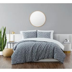 Honey Waffle Blue 3-Piece Full/Queen Duvet Cover Set