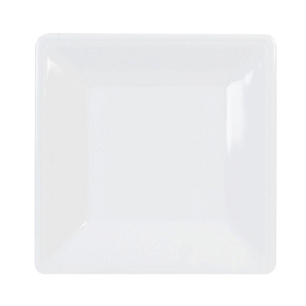 Restaurant Essentials Jazz 13-3/4 in. x 13-3/4 in. Square Plate 1-1/8 in. Deep in White (1-Piece)