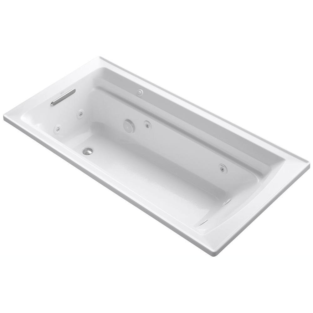 Archer 6 ft. Acrylic Rectangular Drop-in Whirlpool Bathtub in White