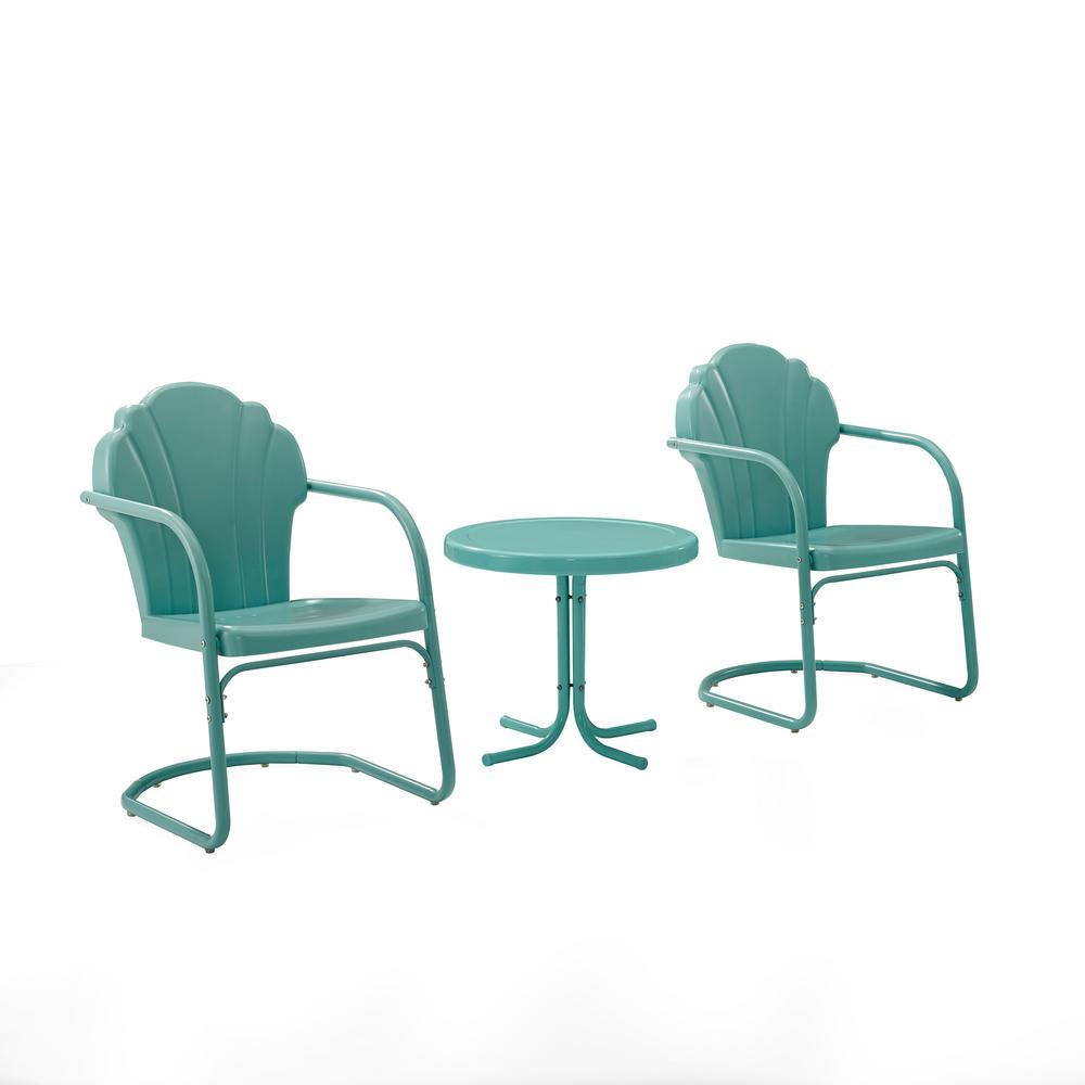 Tulip Blue 3-Piece Metal Patio Conversation Set
