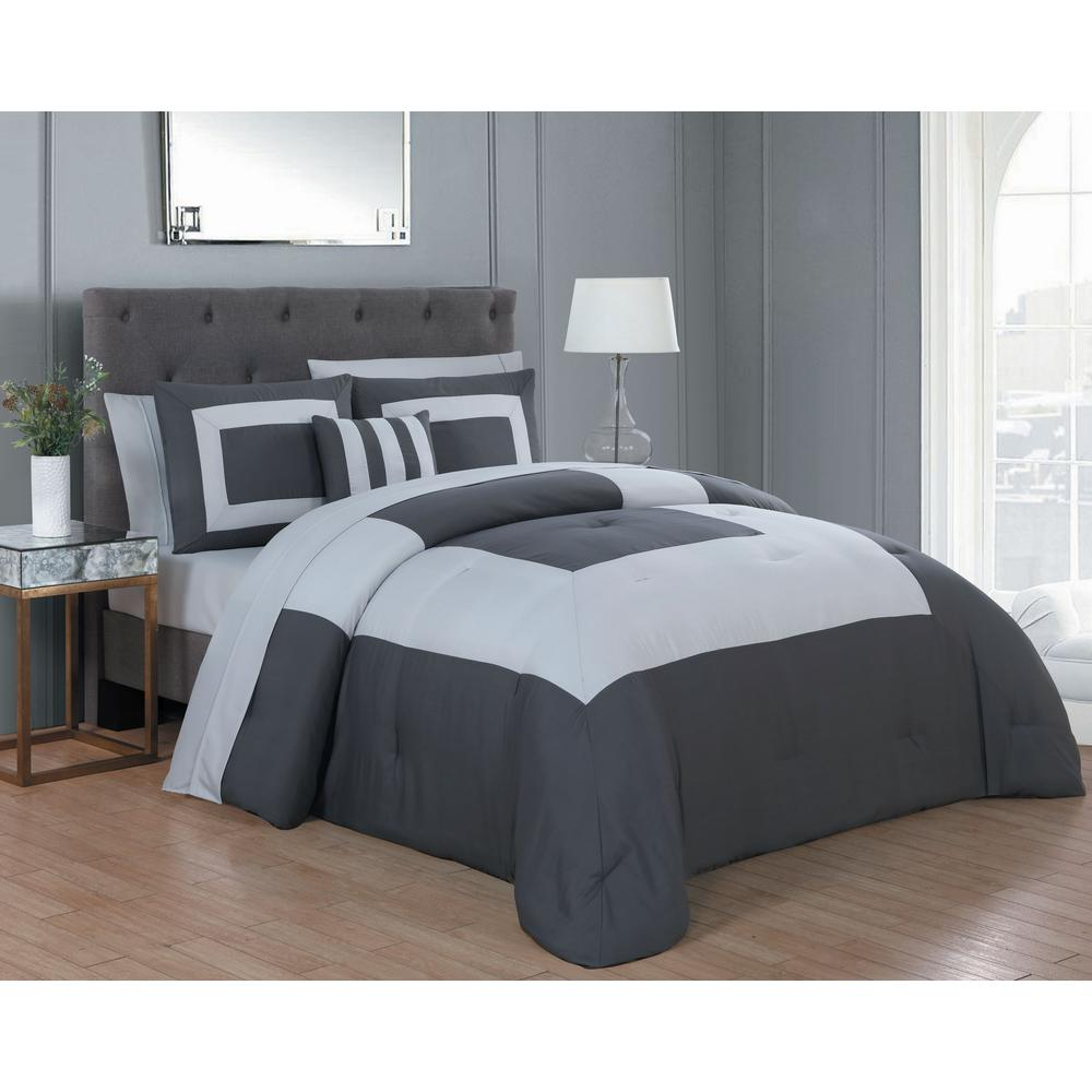Carson 8-Piece Dark Grey and Light Grey King Comforter Set