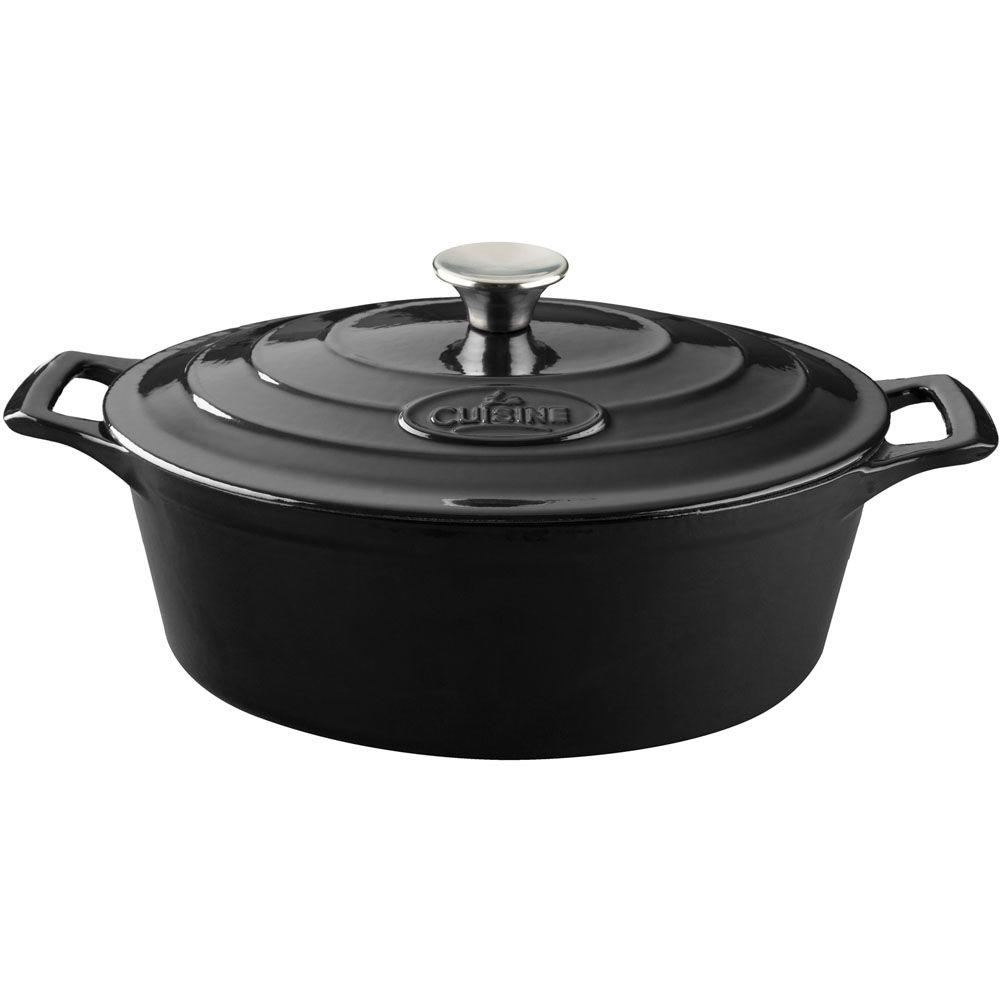 6.75 Qt. Cast Iron Oval Casserole with Black Enamel