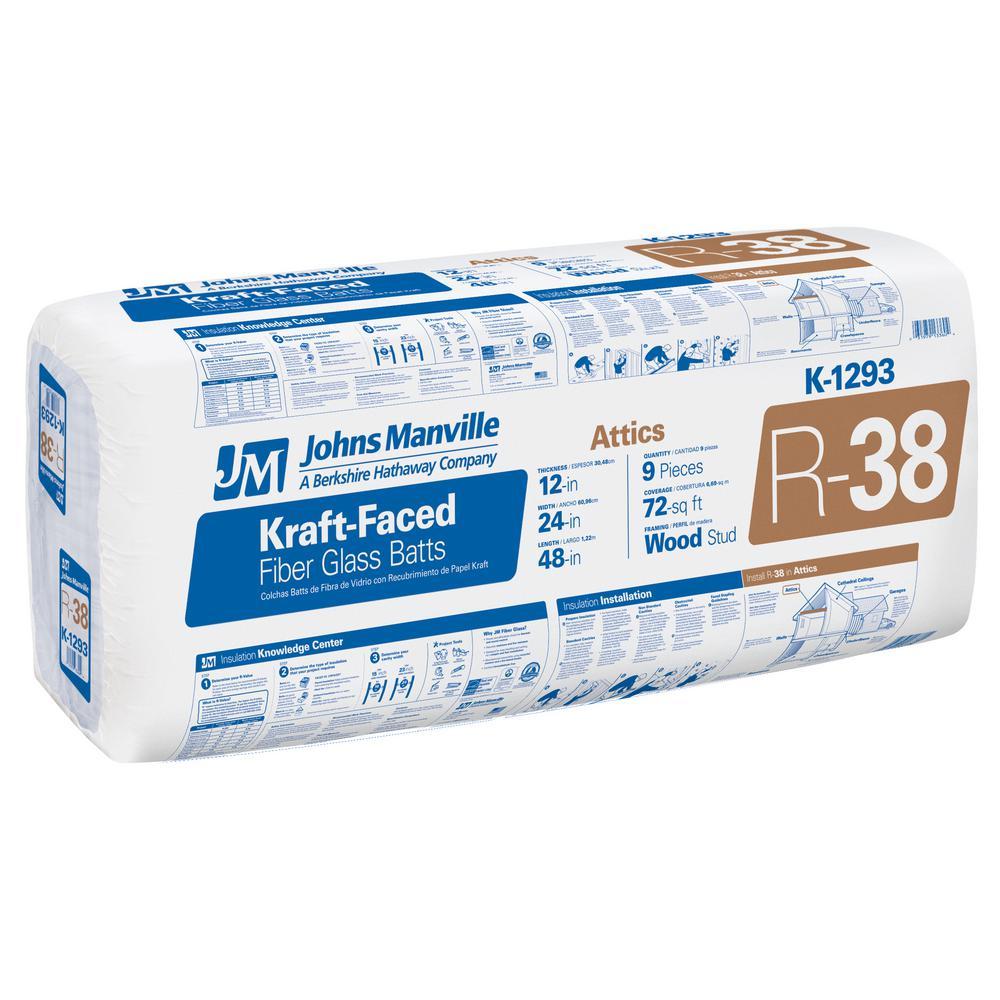 R 38 Kraft Faced Fiberglass Insulation Batt 24 In X 48 In K1293 The Home Depot