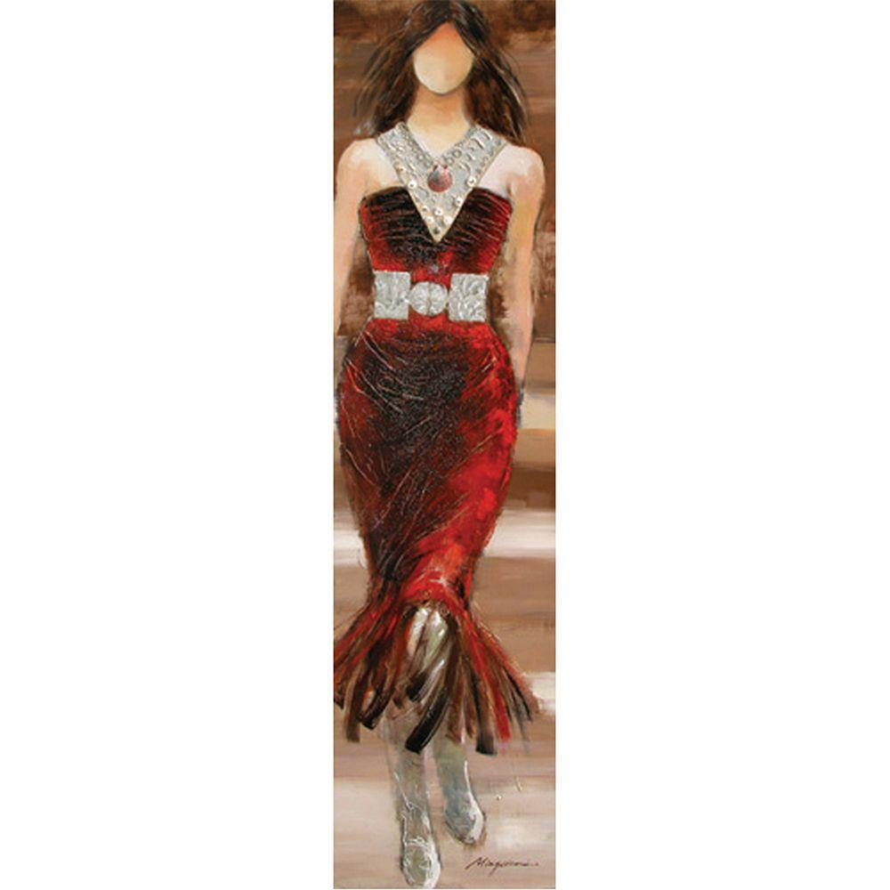 Yosemite Home Decor 12 in. x 47 in. Red Dress Model S Hand Painted Contemporary Artwork-DISCONTINUED