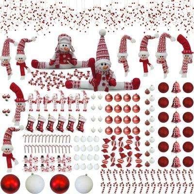 Home for The Holidays Christmas Peppermint Themed Ornament and Decoration Set (225-Piece)