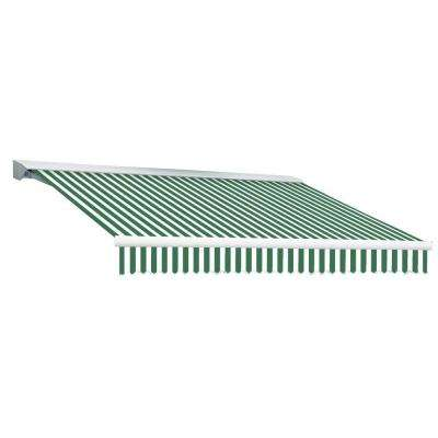 8 ft. DESTIN EX Model Left Motor Retractable with Hood Awning (84 in. Projection) in Forest Green and White Stripe