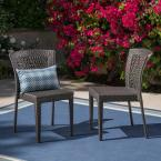 Dusk Gray Stackable Wicker Outdoor Dining Chairs (2-Pack)