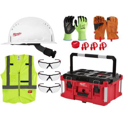 BOLT White Type 1 Class C Front Brim Vented Hard Hat w/Small Logo and PACKOUT Tool Box w/Personal Protective Equipment