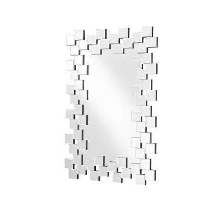 Emory 31.5 in. Contemporary Rectangle Mirror with Clear MDF Frame, Rectangle Shape, Mounting Type: D Ring