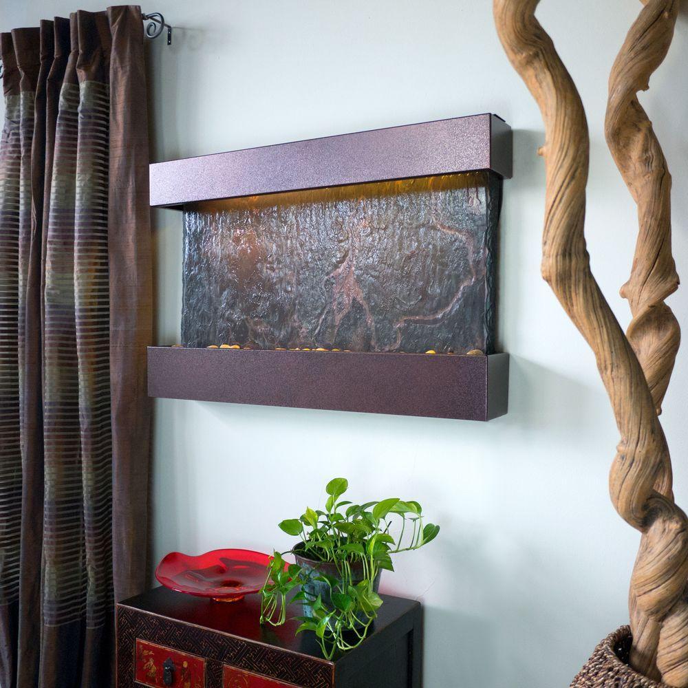 Medium Horizon Falls Lightweight Slate Wall Fountain in C...