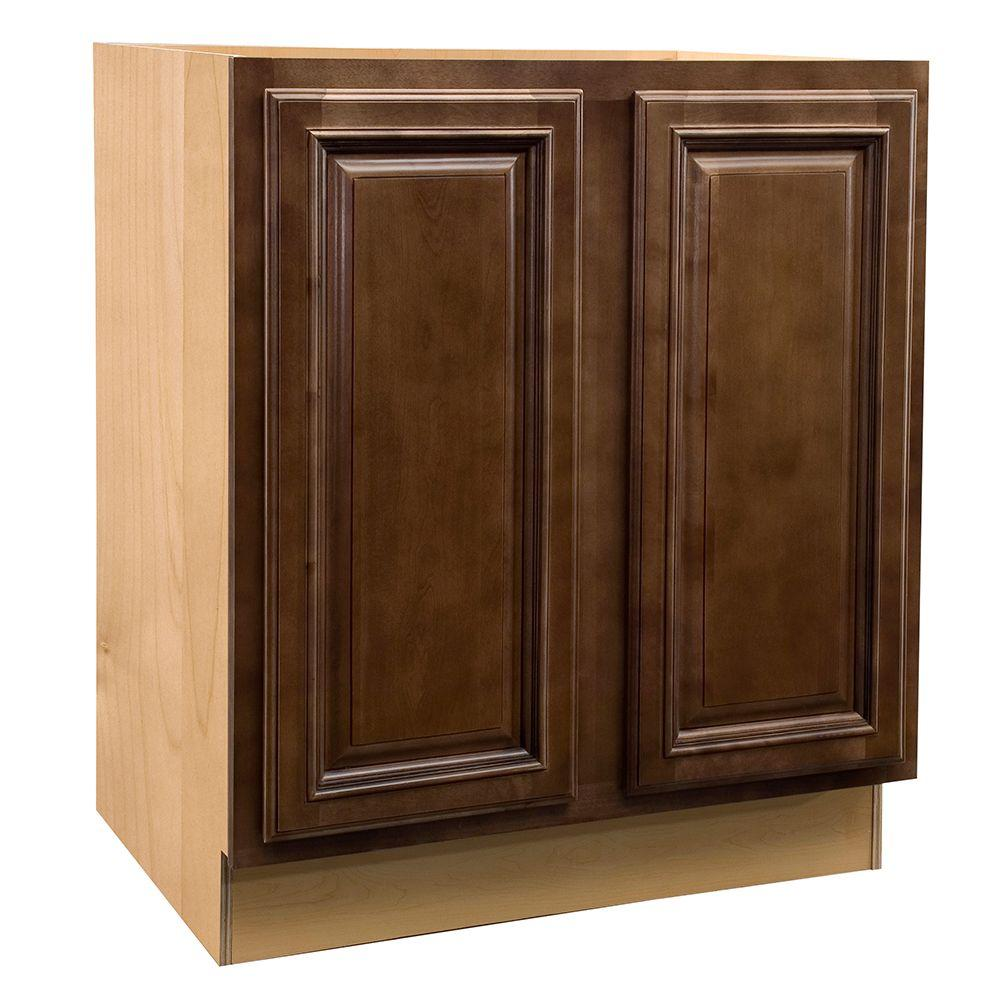 Home Decorators Collection Assembled 36x34.5x21 in. Vanity Base Cabinet with Full Height Door in Huntington Chocolate Glaze
