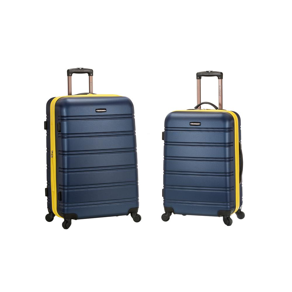 Rockland Melbourne Expandable 2-Piece Hardside Spinner Luggage Set, Navy