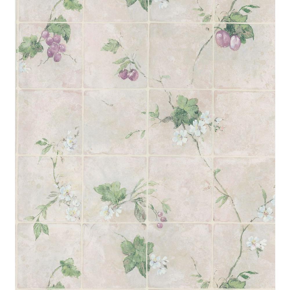 Kitchen and Bath Resource II Neutral Vine Tile Wallpaper Sample